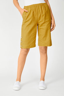 Capture Linen Blend Button Short - 252550