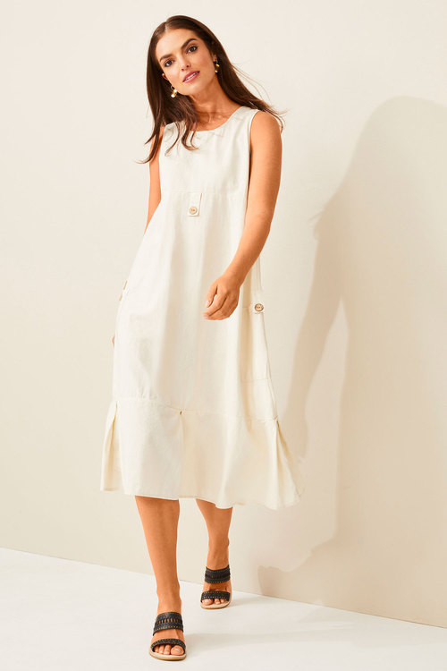 Capture Linen Blend Midi Dress