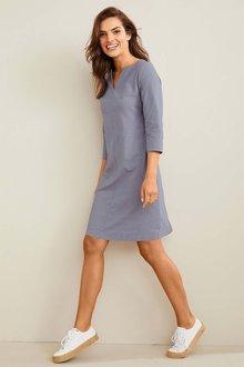 Capture Linen Blend 3/4 Sleeve Dress - 252554