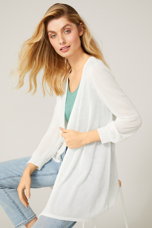 Capture Ribbed Detail 3/4 Sleeve Cardi