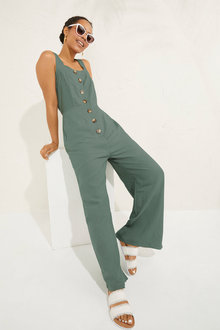Emerge Linen Blend Button Jumpsuit - 252569