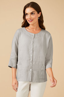 Grace Hill Linen Shirt Jacket - 252571