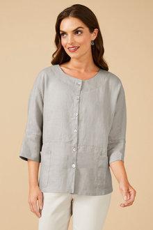 Grace Hill Linen Shirt Jacket - 252571