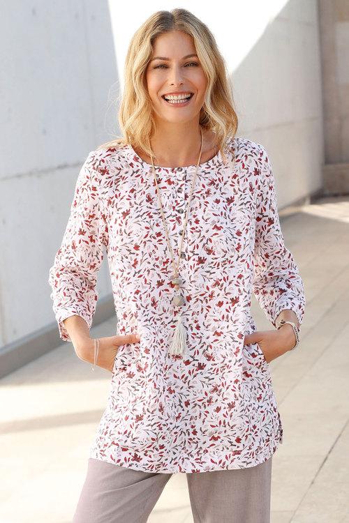 Euro Edit Floral Print Linen Tunic Top