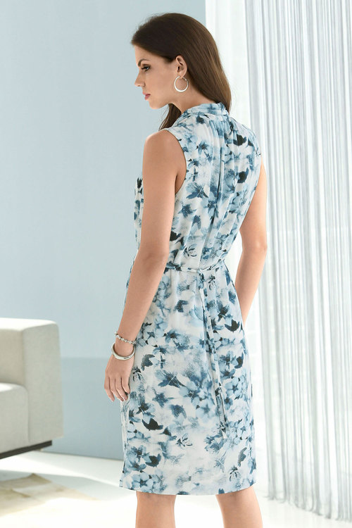 Euro Edit Printed Waist Tie Dress