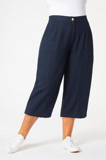 Sara Wide Leg Linen Crop - 252640