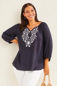 Sara Embroidered Neck Top - 252644