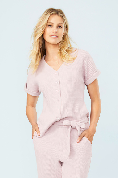 Mia Lucce Waffle Button Up PJ Top