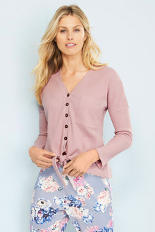 Mia Lucce Waffle Long Sleeve Button Top - 252662