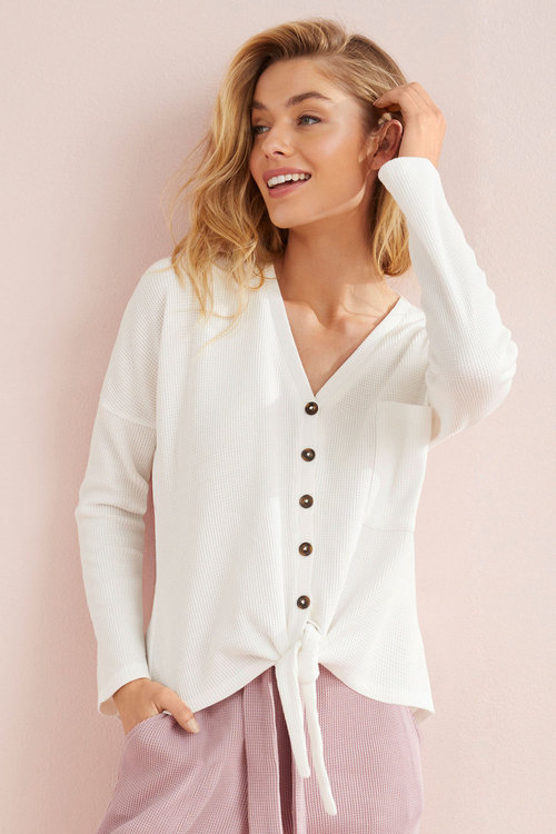 Mia Lucce Waffle Long Sleeve Button Top