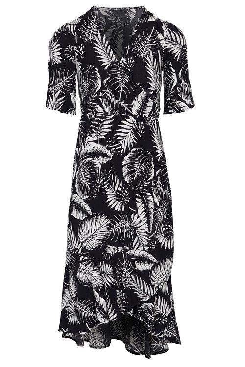 Kaleidoscope Flute Sleeve Wrap Dress