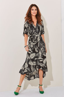 Kaleidoscope Flute Sleeve Wrap Dress - 252701