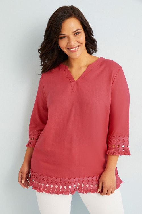 Sara Linen Lace Trim Tunic