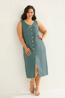 Sara Linen Button Through Dress - 252741