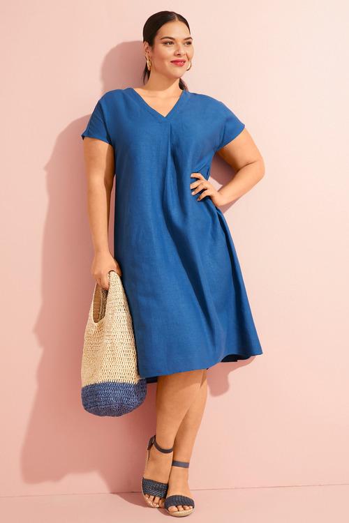 Sara V Neck Linen Blend Dress