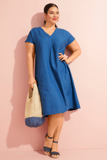 Sara V Neck Linen Blend Dress - 252742