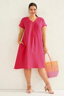 Sara V Neck Linen Blend Dress - 252742