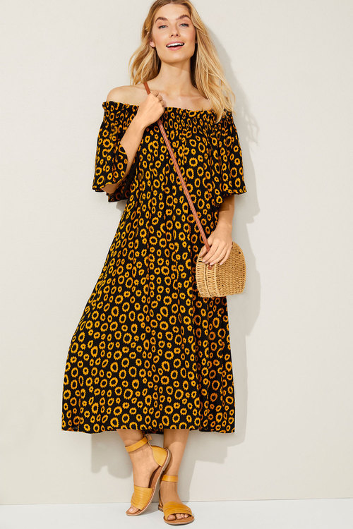 Capture Shirred Neck Midi Dress
