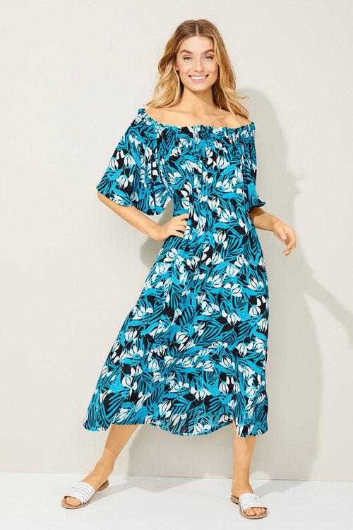Capture Shirred Neck Midi Dress