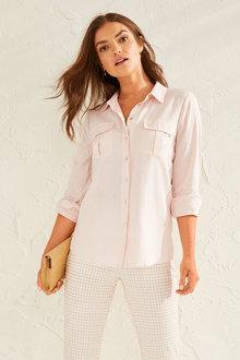 Capture Linen Blend Patch Pocket Shirt - 252778