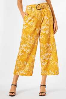 Capture Linen Blend Belted Crop Culotte - 252788