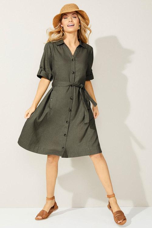 Capture Linen Blend Shirt Dress