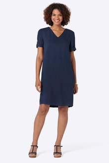 Capture Tab Sleeve Shift Dress - 252813