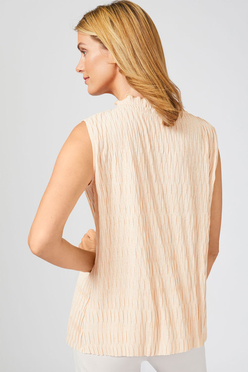 Grace Hill Crinkle High Neck Top