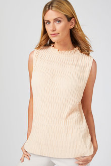 Grace Hill Crinkle High Neck Top - 252843