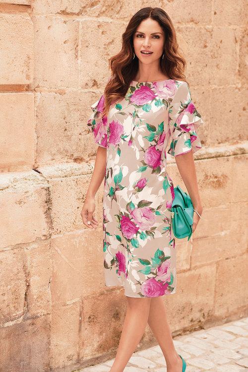 Kaleidoscope Ruffle Sleeve Floral Dress