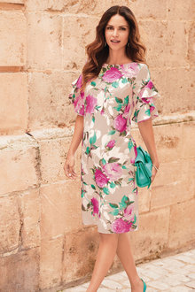 Kaleidoscope Ruffle Sleeve Floral Dress - 252853