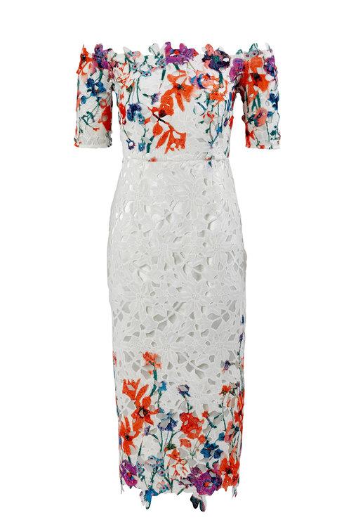 Kaleidoscope Off Shoulder Lace Print Dress
