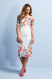 Kaleidoscope Off Shoulder Lace Print Dress - 252856