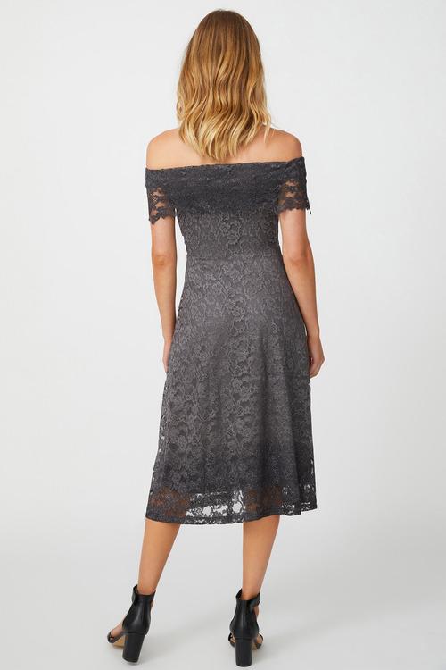 Kaleidoscope Bardot Sparkle Lace Dress