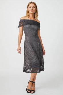 Kaleidoscope Bardot Sparkle Lace Dress - 252867