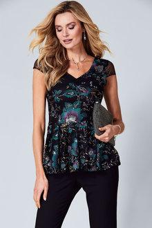 Kaleidoscope Embroidery Sequin Peplum Top - 252868