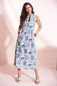 Kaleidoscope Linen Blend Print Dress - 252870