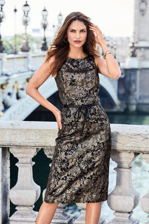 Kaleidoscope Jacquard Metallic Dress