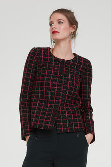 Heine Black & Red Boucle Blazer - 252900