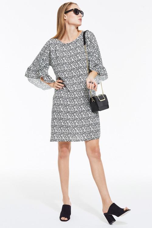 Heine Printed Dress Frilled Sleeves