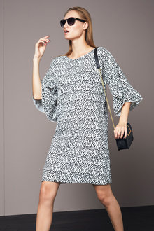 Heine Printed Dress Frilled Sleeves - 252922