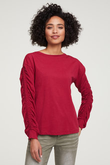 Heine Round Neck Ruched Sleeve Top - 252945