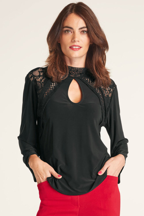Heine 3/4 Wide Sleeve Lace Top