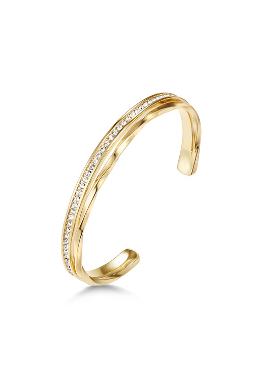 Mestige Golden Audrina Bangle with Swarovski Crystals