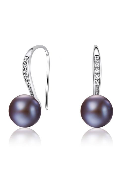 Mestige Black Barcelona Freshwater Earrings with Swarovski Crystals
