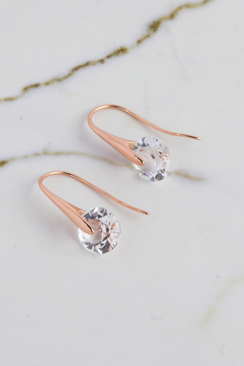 Mestige Rose Gold Eclipse Earrings with Swarovski Crystals