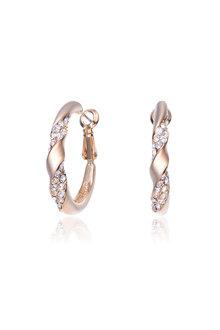 Mestige Rose Gold Nola Hoop Earrings with Swarovski Crystals