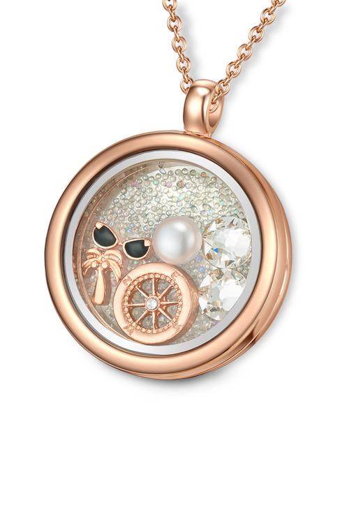 Mestige Rose Gold Explorer Floating Charm Necklace with Swarovski Crystals - Rose - Womens