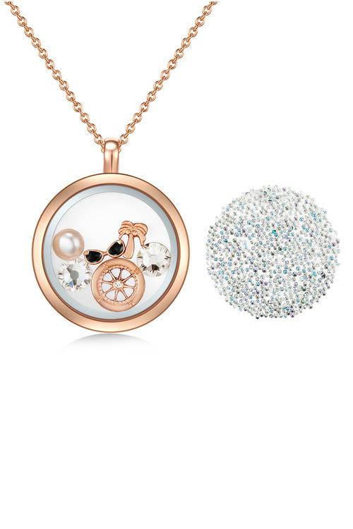 Mestige Rose Gold Explorer Floating Charm Necklace with Swarovski Crystals