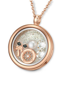 Mestige Rose Gold Explorer Floating Charm Necklace with Swarovski Crystals - 252996